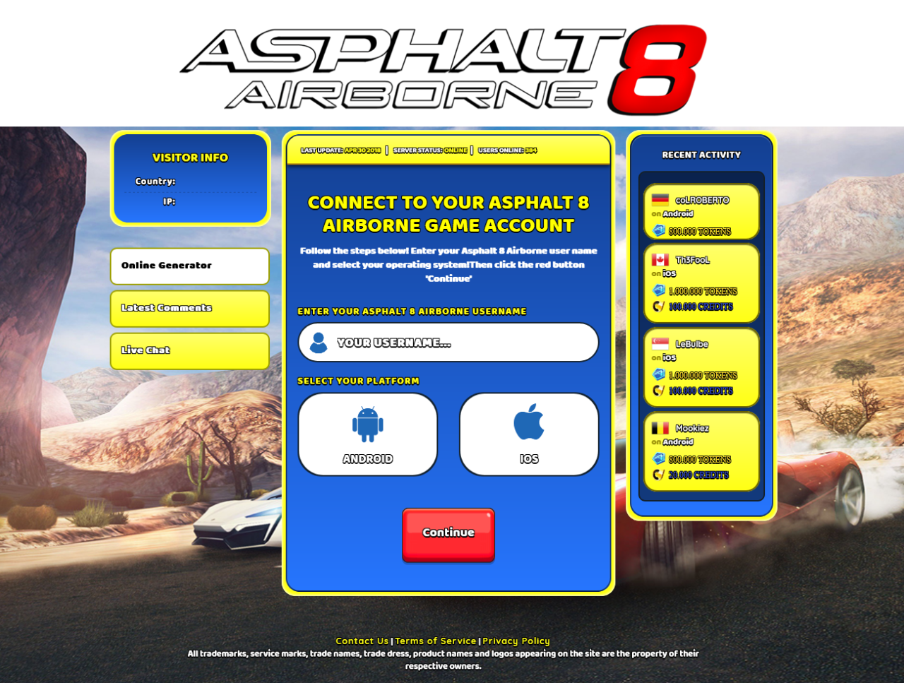 Screenshot-Asphalt 8 Airborne Hack Cheat Online Generator Tokens and Credits Unlimited