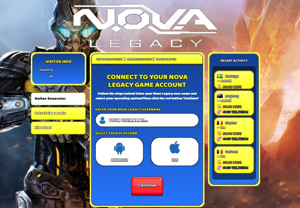 Nova Legacy Hack - Screenshot
