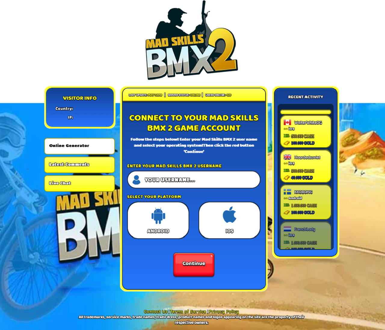 Screenshot-Mad Skills BMX 2 Hack Cheat Online Generator Cash and Gold Unlimited